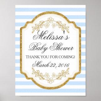 Kundenspezifisches Babyparty-Zeichen, blaues Gold, Poster