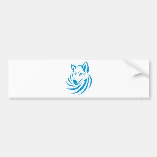 Kundenspezifisches blaues Wolf-Logo Autoaufkleber