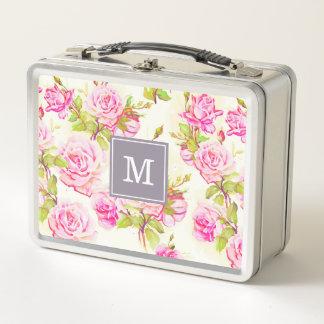 Kundenspezifisches Blumenmuster-alter Metall Lunch Box