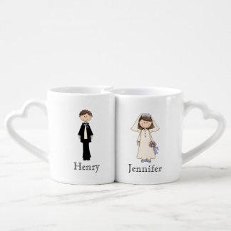 Kundenspezifisches Braut-und Bräutigam-Tassen-Set Herztassen
