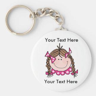 Kundenspezifisches Brown-Haar-Mädchen Keychain Schlüsselanhänger
