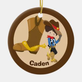 Kundenspezifisches Cowboy-Kind Keramik Ornament