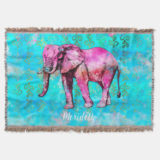 Kundenspezifisches Elefant-Aquarell-Rosa-blaues Decke