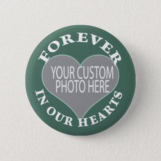 Kundenspezifisches ErinnerungsFoto im grünen Runder Button 5,7 Cm