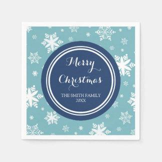 Kundenspezifisches Familien-Weihnachtsblaue Papierserviette