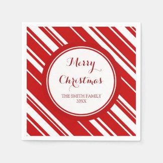 Kundenspezifisches Familien-Weihnachtsrot Stripes Serviette