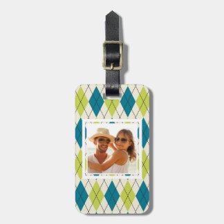 Kundenspezifisches Foto-blaue und grüne Raute Gepäckanhänger