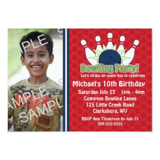 Kundenspezifisches Foto-Bowlings-Geburtstags-Party Einladungskarte
