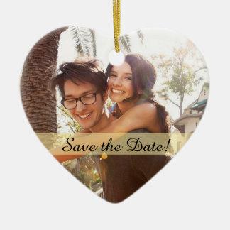 Kundenspezifisches Foto, das Save the Date Wedding Keramik Ornament
