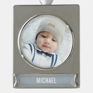 Kundenspezifisches Foto mit Namen Banner-Ornament Silber