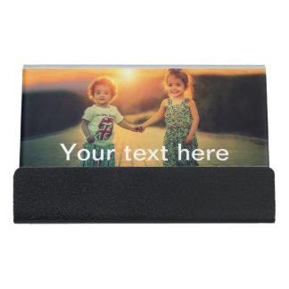 Kundenspezifisches Foto und Text Schreibtisch-Visitenkartenhalter