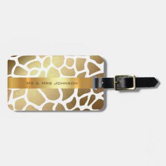 Kundenspezifisches Goldgiraffe Lampart Haut-Gepäck Gepäckanhänger