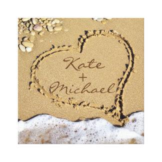 Kundenspezifisches Hochzeits-Leinwand-Herz auf dem Leinwanddruck