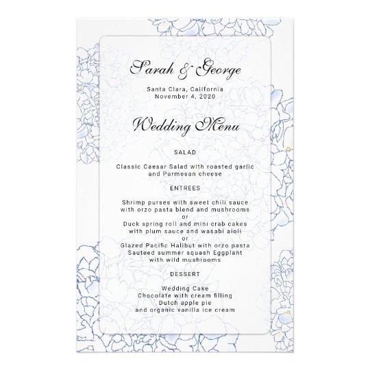 Kundenspezifisches Hochzeits-Menü der 14 X 21,6 Cm Flyer