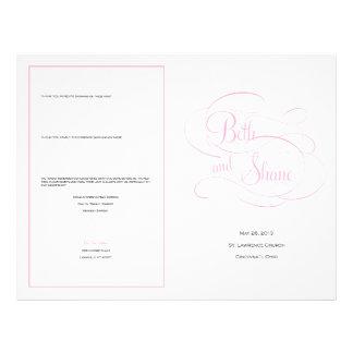 Kundenspezifisches Hochzeits-Programm - Rosa Personalisierte Flyer