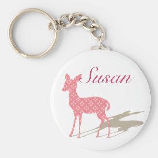 """Kundenspezifisches Keychain """"rosa Bambi """" Standard Runder Schlüsselanhänger"""