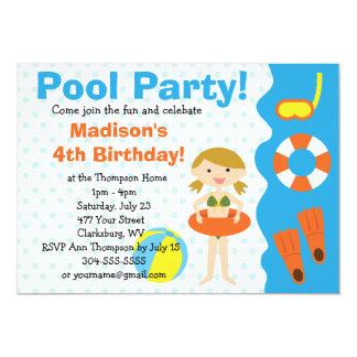 Kundenspezifisches Mädchen-Geburtstags-Pool-Party 12,7 X 17,8 Cm Einladungskarte