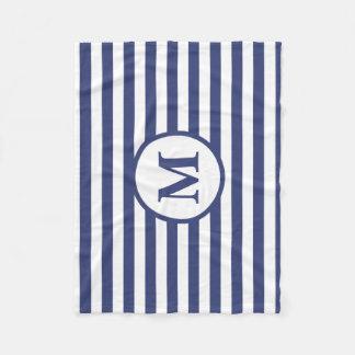 Kundenspezifisches Monogramm-blaue und weiße Fleecedecke