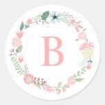 Kundenspezifisches Monogramm-BlumenKranz Aufkleber