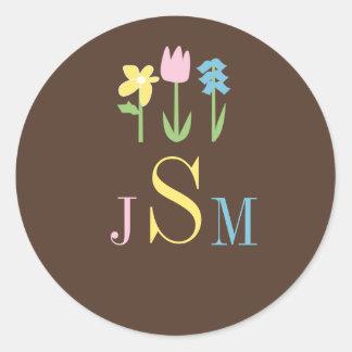 Kundenspezifisches Monogramm-BlumenUmschlag Runder Aufkleber