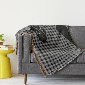 Kundenspezifisches Monogramm-Gingham-Schwarz-graue Decke