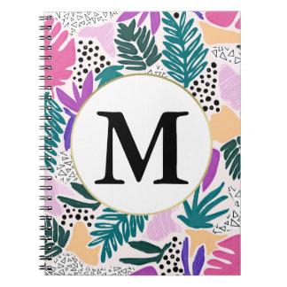 Kundenspezifisches Monogramm-tropisches Spiral Notizblock