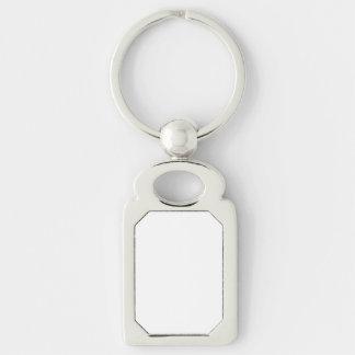 Kundenspezifisches Rechteck Keychain Silberfarbener Rechteckiger Schlüsselanhänger