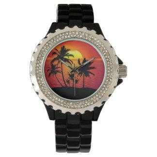Kundenspezifisches Rhinestone-Schwarz-Email Armbanduhr