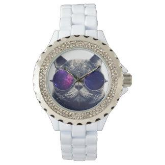Kundenspezifisches Rhinestone-Weiß-Email Armbanduhr