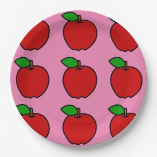 Kundenspezifisches rotes apfelgrünes Blatt-Muster Pappteller