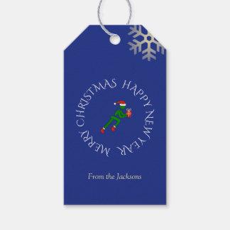 Kundenspezifisches Textblau des Weihnachtsathleten Geschenkanhänger