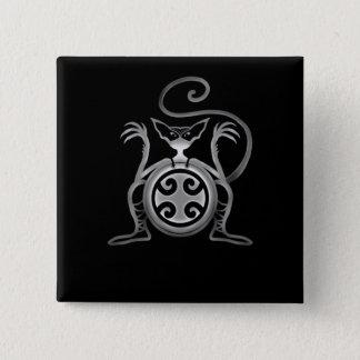 Kung Fu Katze Quadratischer Button 5,1 Cm