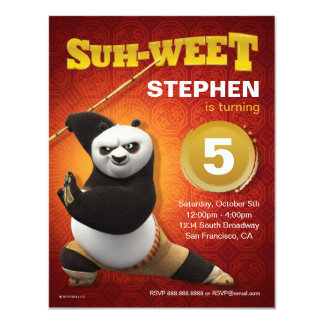 Kung Fu Kriegers-Geburtstag Panda-| PO 10,8 X 14 Cm Einladungskarte