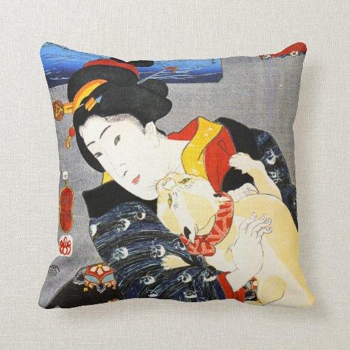 Kuniyoshi Frau mit einem Katzen-Kissen