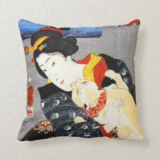 Kuniyoshi Frau mit einem Katzen-Kissen Kissen