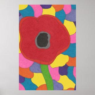 Kunst-Buntglas-Mohnblumen-Plakat-Druck Poster