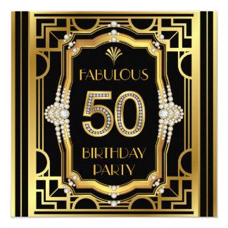 Kunst-Deko-50. Geburtstags-Party Quadratische 13,3 Cm Einladungskarte