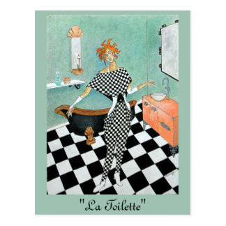 Kunst-Deko-Ähnliche Karte--Orig. Kunst/Frau im Postkarte