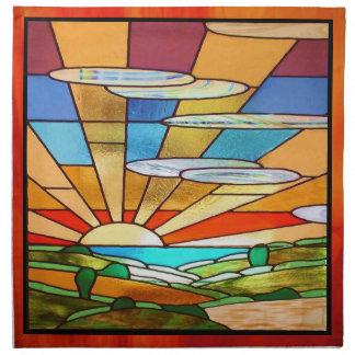 Kunst-Deko-beflecktes Glas 1 Stoffserviette