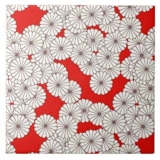 Kunst-Deko-Blumenmuster - Weiß auf Rot Keramikfliese