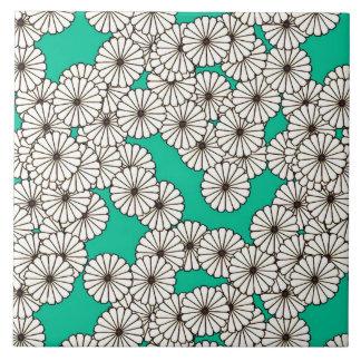 Kunst-Deko-Blumenmuster - Weiß auf Türkis Fliese