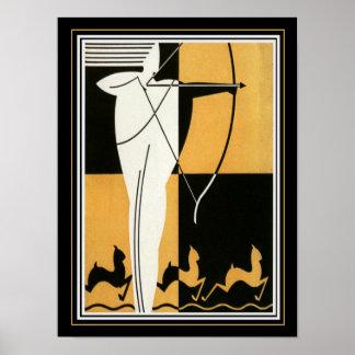 """Kunst-Deko """"Bogenschütze u. Antilope"""" 12 x 16 Poster"""