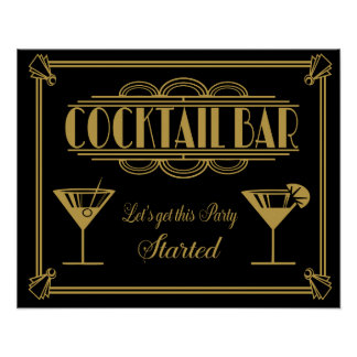 KUNST Deko-Cocktail-Barzeichenzwanziger jahre Poster