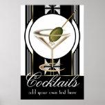Kunst-Deko-Cocktail-großes kundenspezifisches Plak