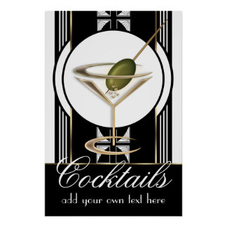 Kunst-Deko-Cocktail-großes kundenspezifisches Poster
