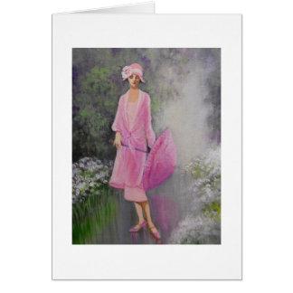 Kunst-Deko, Dame mit einem Sonnenschirm, Karte