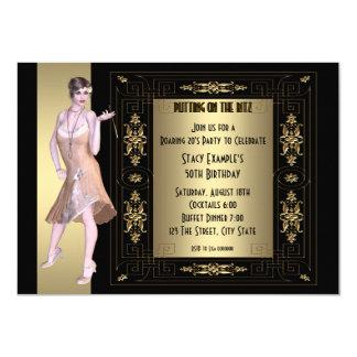 Kunst-Deko, der Zwanzigerjahre Geburtstags-Party 11,4 X 15,9 Cm Einladungskarte