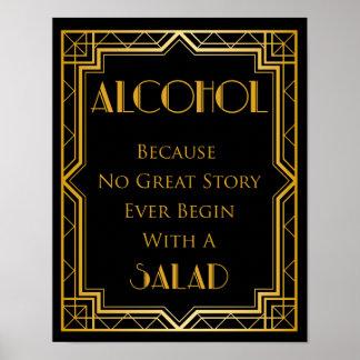 Kunst-Deko des Alkohol Gatsby Hochzeits-Zeichen-| Poster