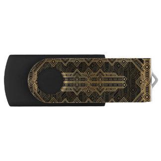 Kunst-Deko des stilvollen Schwarzen und des Goldes USB Stick