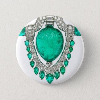 Kunst-Deko-Diamant-Smaragdkostüm-Schmuck-Brosche Runder Button 5,7 Cm